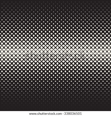 Vector Seamless Black and White  Cross Halftone Grid Gradient Pattern Geometric Abstract Background - stock vector