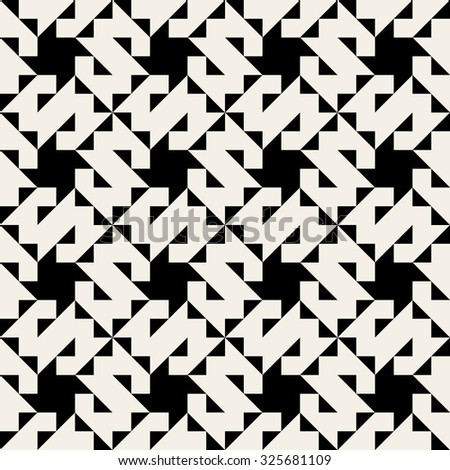 Vector Seamless Black And White Geometric Jagged Edge Triangle  Square Pattern Background