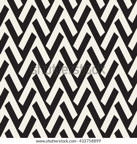 Vector Seamless Black And White Geometric Lines Pattern. Abstract Geometric Background Design