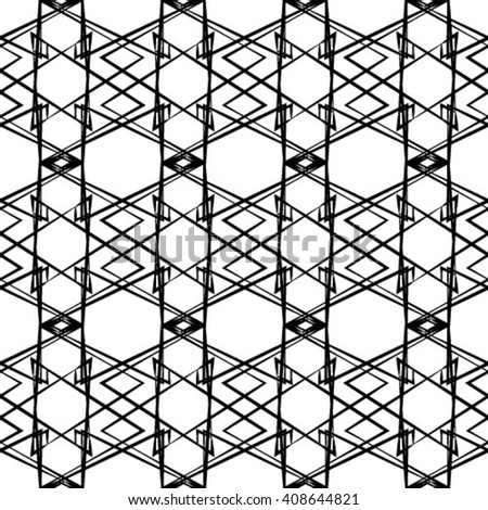 Vector Seamless Black and White Geometric Rhombus Cross Square Tile Pattern Background