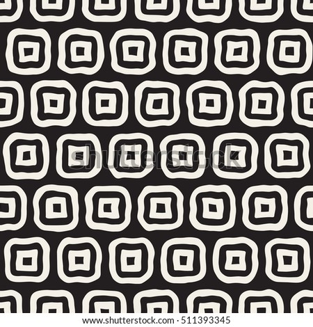 Vector Seamless Black and White Hand Drawn Rounded Rectangles Pattern. Abstract Freehand Background Design