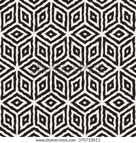 Vector Seamless Black And White Hand Painted Geometric Rhombus Lines Cubic Pattern Abstract Background - stock vector