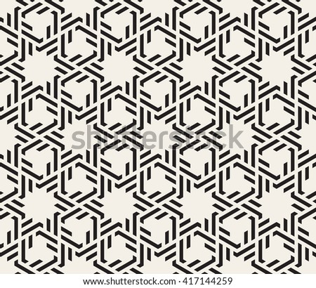 Vector Seamless Black And White Interlacing Lines Geometric Islamic Pattern Background - stock vector