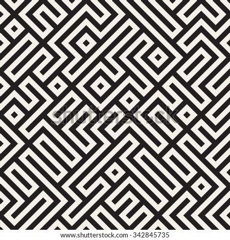 Vector Seamless Black And White Irregular Geometric Blocks Pattern Abstract Background - stock vector