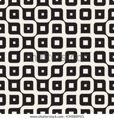 Vector Seamless Black And White Irregular Wavy Lines Geometric Pattern. Abstract Geometric Background Design