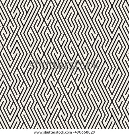 Vector Seamless Black and White Maze Lines Grid Pattern. Abstract Geometric Background Design