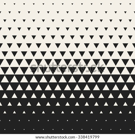Vector Seamless Black and White Morphing Triangle Halftone Grid Gradient Pattern Geometric Abstract Background - stock vector