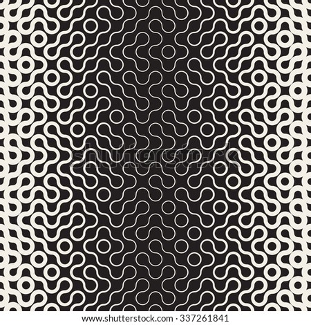 Vector Seamless Black and White Round Line Gradient Halftone Pattern Abstract Background - stock vector