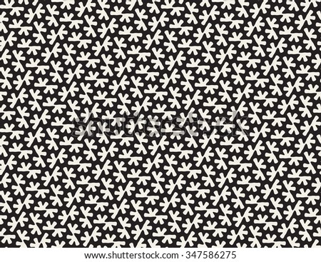 Vector Seamless Black and White Rounded Organic Shape Tessellation Pattern Abstract Background