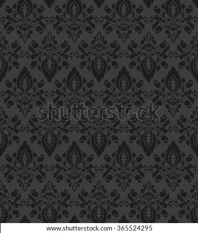 Vector seamless black floral pattern - stock vector