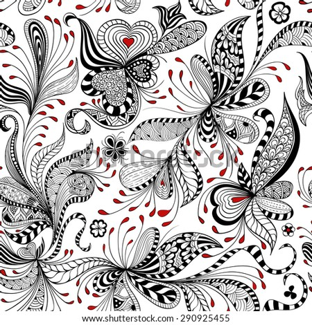 vector seamless black, red and white pattern of spirals, swirls, doodles - stock vector