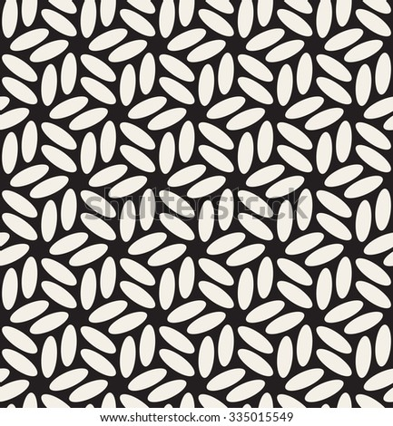 Vector Seamless Black & White Rounded Ellipses Hexagonal Floral Pattern Abstract Background - stock vector