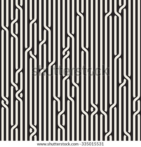 Vector Seamless Black & White Rounded Rope Lines Brade Pattern Abstract Background - stock vector
