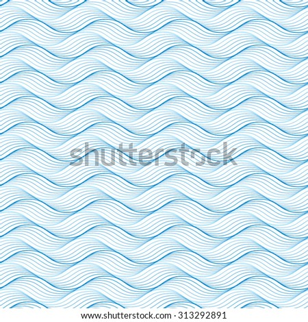 Vector seamless blue abstract wave pattern. Geometric background.