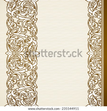 Vector seamless border in Victorian style. Vintage element for design, place for text. Ornamental floral pattern for wedding invitations, greeting cards. Traditional brown decor on light background. - stock vector