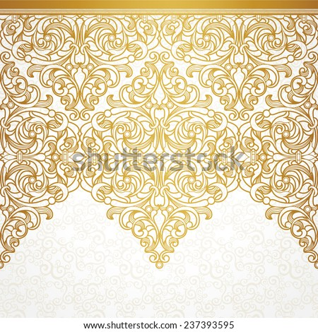 Vector seamless border in Victorian style. Vintage element for design, place for text. Ornamental floral pattern for wedding invitations, greeting cards. Traditional golden decor on light background. - stock vector