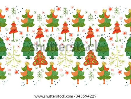 Vector seamless border of christmas tree. Christmas pattern - varied Xmas trees and snowflakes. Simple seamless Happy New Year background. Red and green fir tree on white background - stock vector
