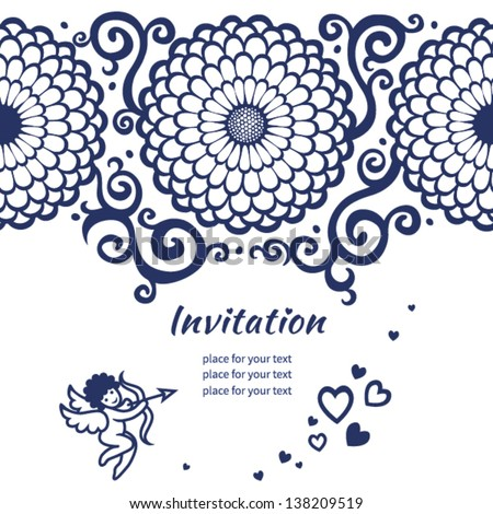 Vector seamless border on card with large flowers, cupid and scrolls. Template frame design for card. You can place your text in the empty place. - stock vector