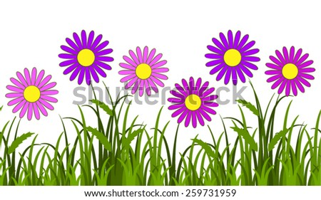 vector seamless border with pink daisies in grass isolated on white background - stock vector