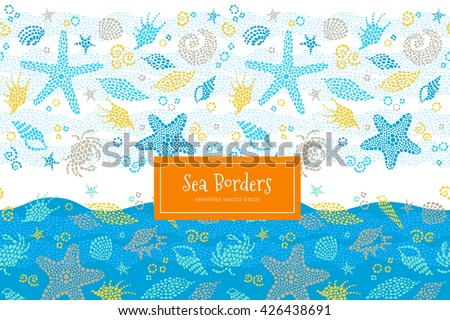 Vector seamless border with sea elements, crabs, seashells. Ornate maritime decor from drops. Spotty sea background for wallpaper, pattern fills, web page, surface textures. Marine life. - stock vector
