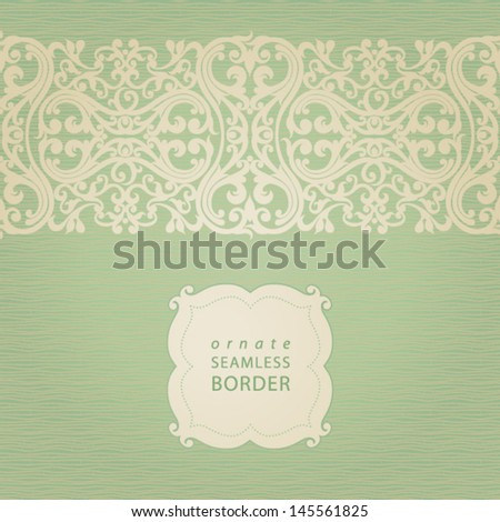 Vector seamless border with swirls and floral motifs in retro style. Element for design. It can be used for decorating of invitations, greeting cards, decoration for bags and clothes.