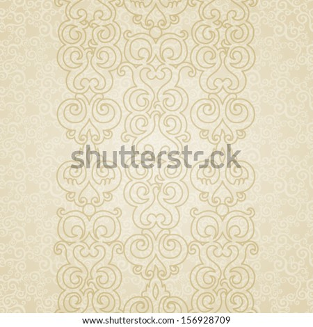 Vector seamless border with swirls and floral motifs in retro style. Light scrollwork background. Template frame design for card. You can place your text in the empty place. - stock vector