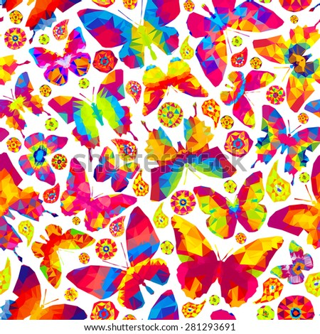 Vector seamless - bright butterflies and flowers (pattern) - stock vector