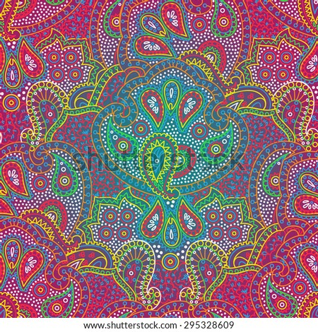 Vector seamless bright vibrant colors boho paisley texture for cards, fabric and design - stock vector