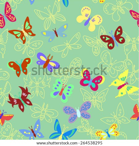 Vector seamless butterfly pattern.