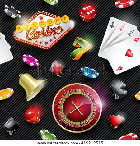 Vector seamless casino pattern illustration with gambling elements on dark striped background. EPS 10 design. - stock vector