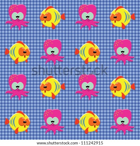 Vector seamless checked blue pattern with funny cartoon fishes and octopuses. - stock vector