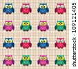 Vector seamless checked pattern little cute owls. - stock vector