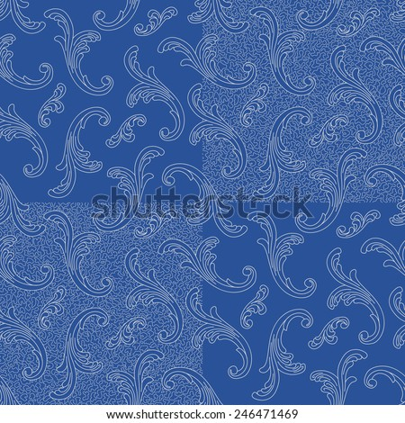 Vector seamless checkered pattern with  blue Baroque curled floral elements  on indigo blue shabby background - stock vector