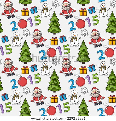Vector seamless Christmas pattern,sticker, with Santa Claus,gifts, snowman, numbers, 2015, Christmas ball, snowflakes, Christmas trees on a white background - stock vector
