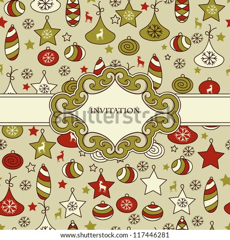 vector seamless Christmas pattern with fir tree toys with Frame for your text,  fully editable eps 8 file with clipping mask and pattern in swatch menu - stock vector