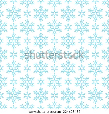 Vector seamless christmas pattern with snowflakes. Cute geometric blue background. Winter simple illustration. Ornamental decorative texture for print, web - stock vector