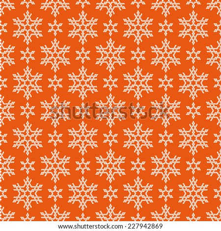 Vector seamless Christmas pattern with snowflakes. Cute geometric red background. Winter simple illustration. Ornamental decorative texture for print, web - stock vector