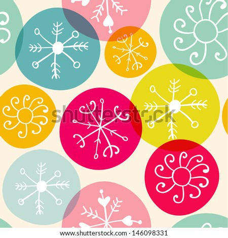 Vector seamless Christmas snowflake pattern texture - stock vector