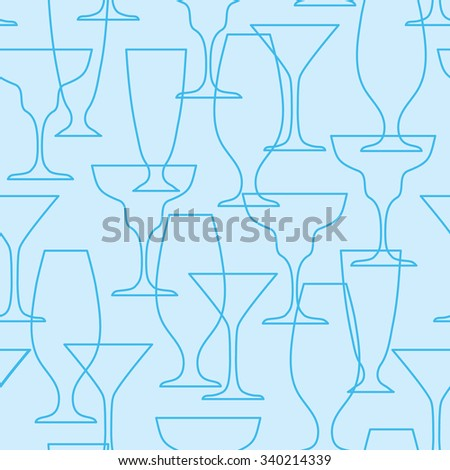 vector seamless cocktail glasses pattern - stock vector