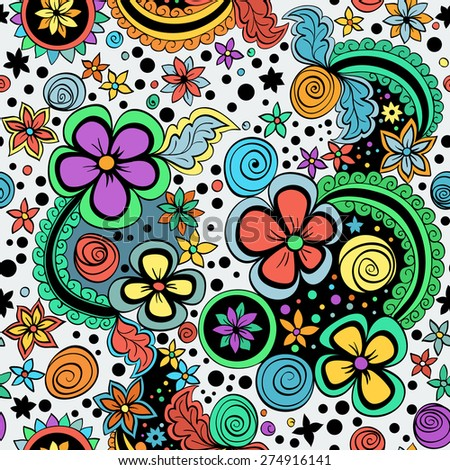 vector seamless color pattern of spirals, swirls, doodles and flowers