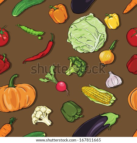 vector seamless color pattern of vegetables on brown background - stock vector