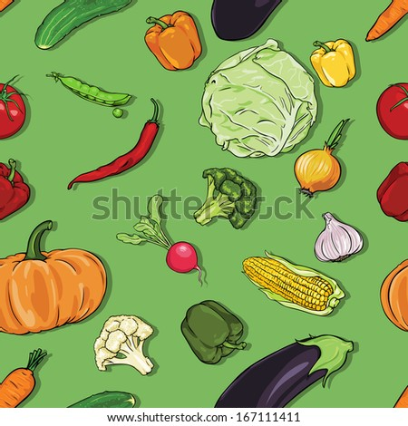 vector seamless color pattern of vegetables on green background - stock vector