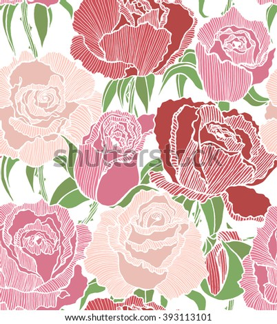 vector seamless colored hand-drawn background with pink and red roses