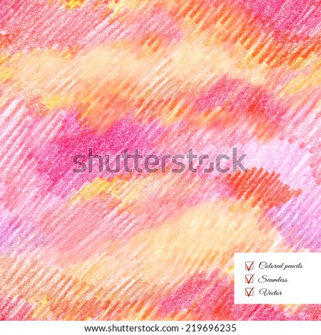 Vector seamless colored pencil shaded background. Hand drawing. - stock vector