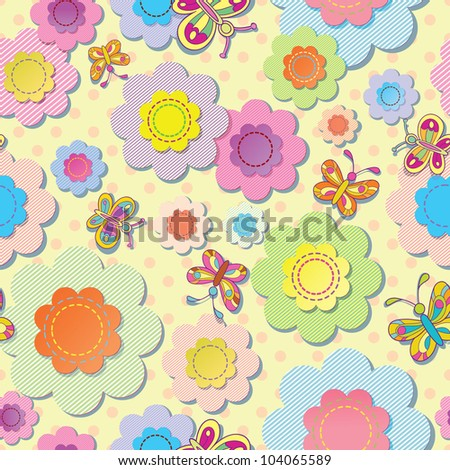 vector seamless colorful background. Application of flowers and butterflies. Sewing thread. - stock vector