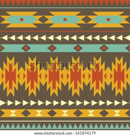 Vector seamless colorful decorative ethnic pattern - stock vector
