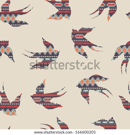 Vector seamless colorful decorative ethnic pattern with swallows - stock vector
