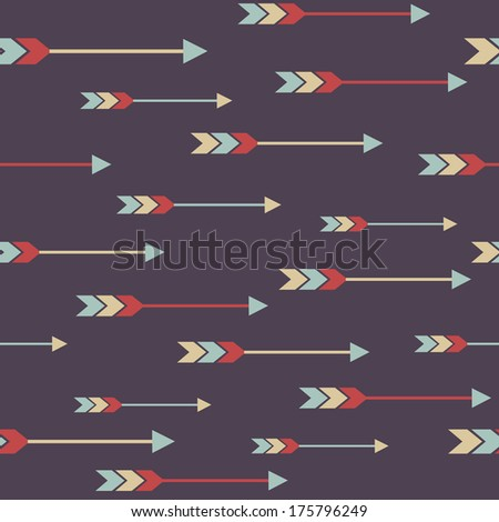 Vector seamless colorful ethnic pattern with arrows - stock vector