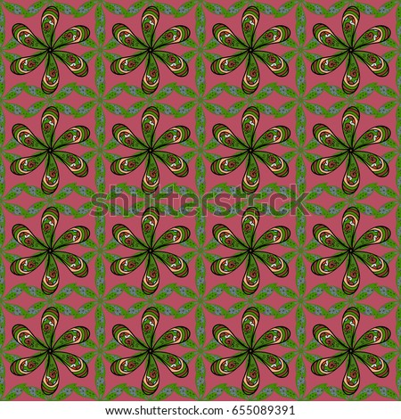 Vector seamless colorful floral pattern. Hand drawn floral texture, pink decorative flowers.