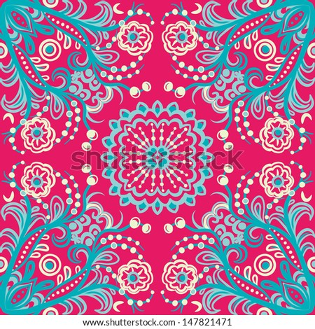 vector seamless colorful hand drawn floral pattern background - stock vector